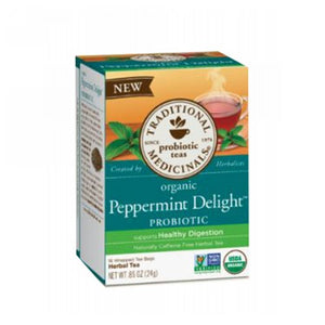 Organic Tea Peppermint Delight Probiotic 16 Bags by Traditional Medicinals Teas (2587886583893)