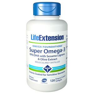 Super Omega-3 EPA/DHA with Sesame Lignans & Olive Fruit Extract 120 Soft Gels by Life Extension (2590190895189)