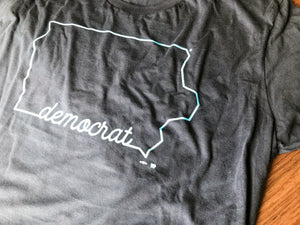 Cursive - State of Iowa, Democrats - Navy / Light Blue