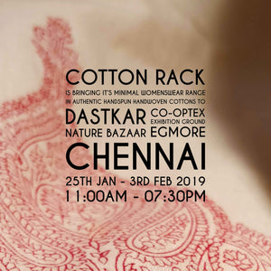 Upcoming Cotton Rack Event- Dastkar Nature Bazaar, Chennai, January, 2019