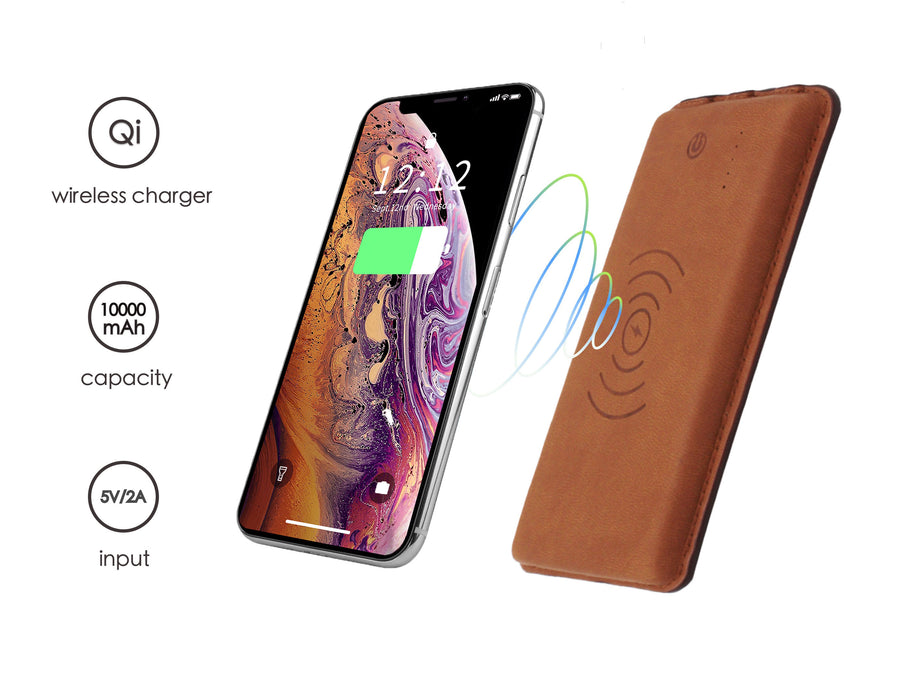Wireless Leather Power Bank 10000 mah - BROWN