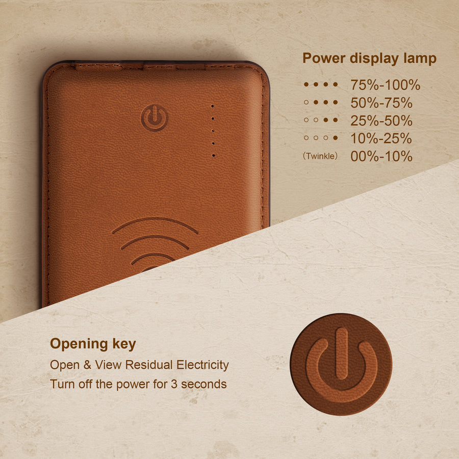Wireless Leather Power Bank 10000 mah - All colour