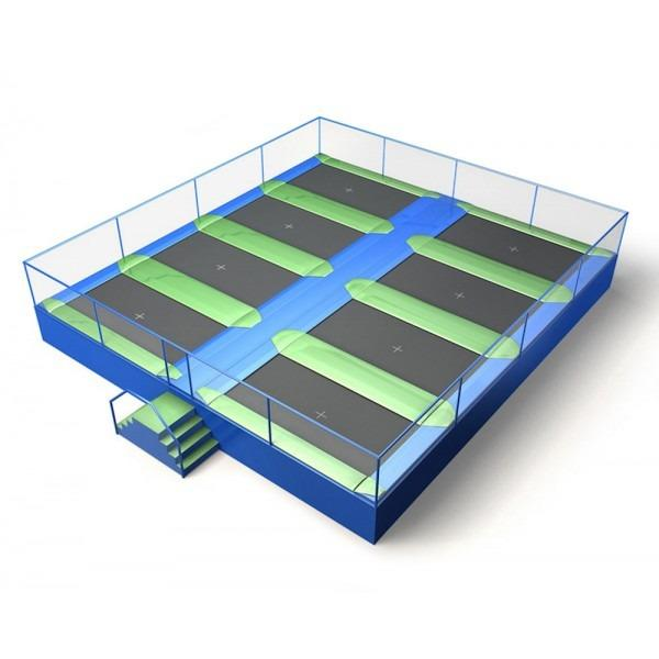 Configuration 10 • Two rows of four rectangular jump mats • (10.6 x 9.7m)