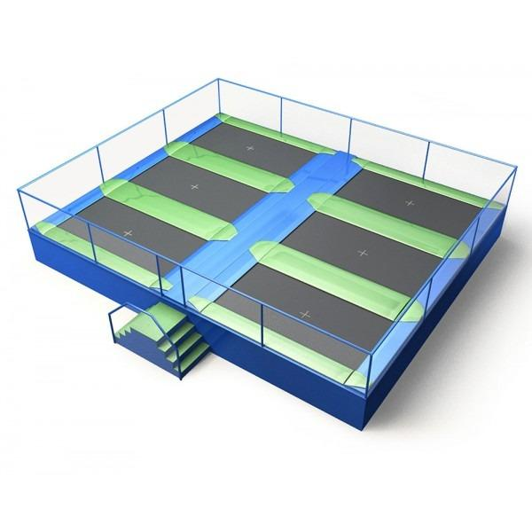 Configuration 9 • Two rows of three rectangular jump mats • (8.0m x 9.7m)