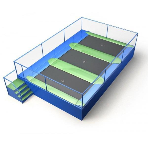 Configuration 6 • One row of three rectangular jump mats • (8.0m x 5.2m)
