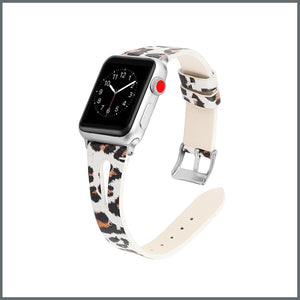 Apple Watch Strap - Stylish Leather - White/Beige Leopard