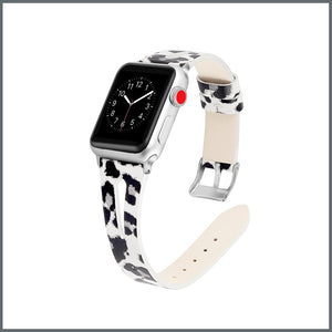 Apple Watch Strap - Stylish Leather - White/Grey Leopard