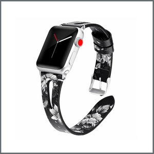 Apple Watch Strap - Stylish Leather - Black/White Floral
