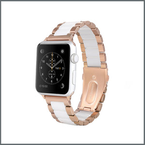 Apple Watch Strap - Power Link - Rose Gold/White
