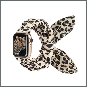 Apple Watch Strap - Scrunchie with Bow - Créme Leopard