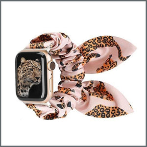 Apple Watch Strap - Scrunchie with Bow - Pink Cheetah
