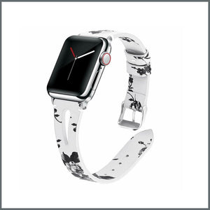 Apple Watch Strap - Stylish Leather - White/Black Floral