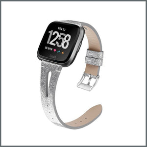 Fitbit Versa Strap Delicate Glamour Leather - Shimmer Silver