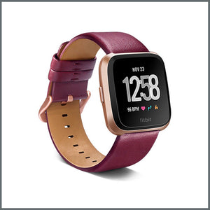 Fitbit Versa Strap - Classic Leather - Wine Red