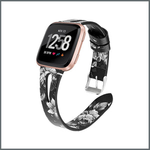 Fitbit Versa Strap - Delicate Leather - Black/White Flower