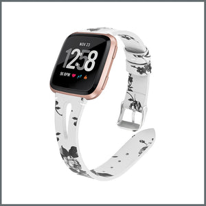 Fitbit Versa Strap - Delicate Leather - White/Black Flower