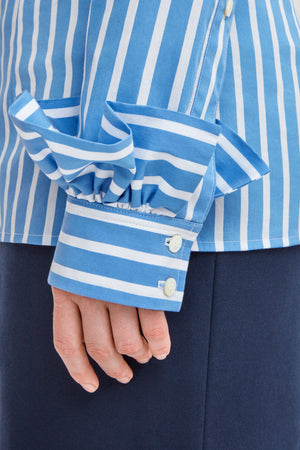'The Hug' Tight Fit Ruffle-Sleeve Shirt