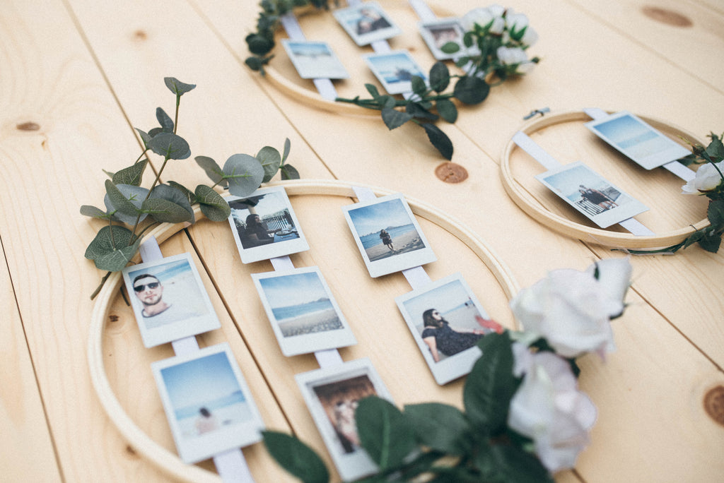 DIY Wedding Photo Display in Embroidery Hoops