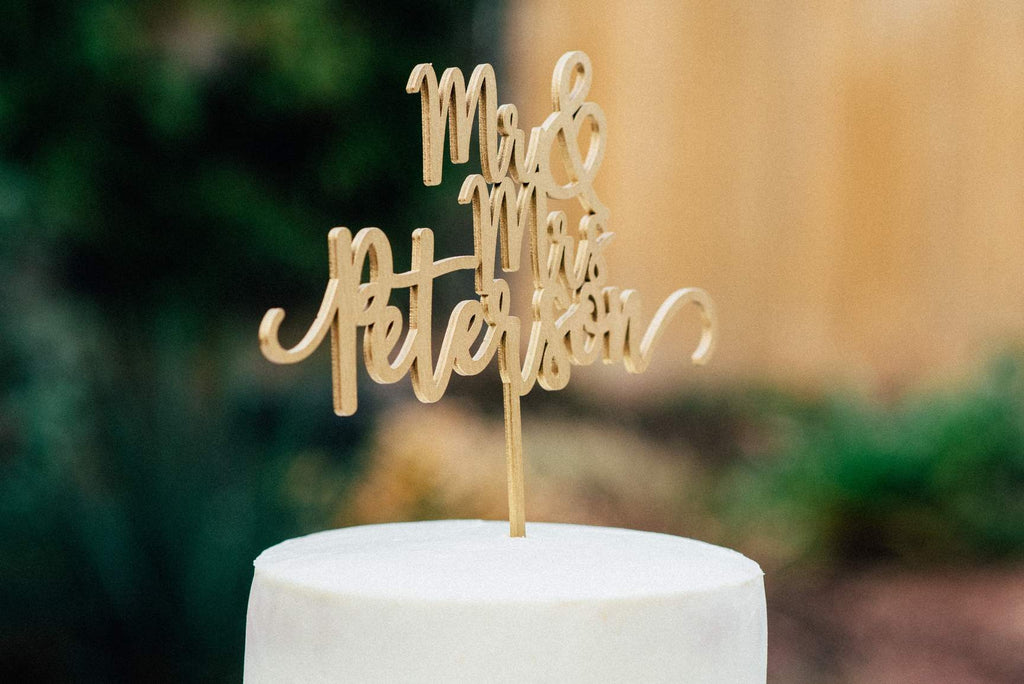 10 Personalized Wooden Calligraphy Cake Toppers