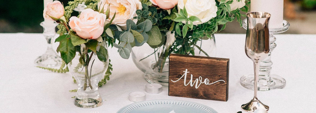 wedding wooden table number with vinyl decal with wedding centerpiece ornament