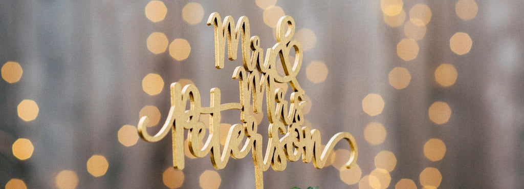golden personalized custom mr and mrs calligraphy cake topper