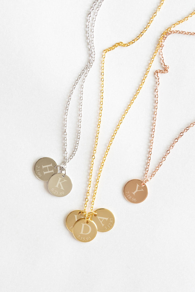 Coin Necklace - Initial Necklace - Gold, Rose Gold, or Silver