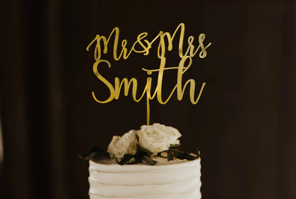 Mr And Mrs Calligraphy Cake Topper
