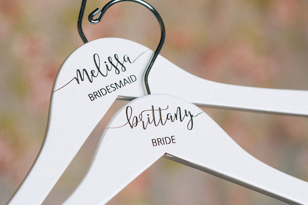 Two White Personalized Bridesmaid Hangers