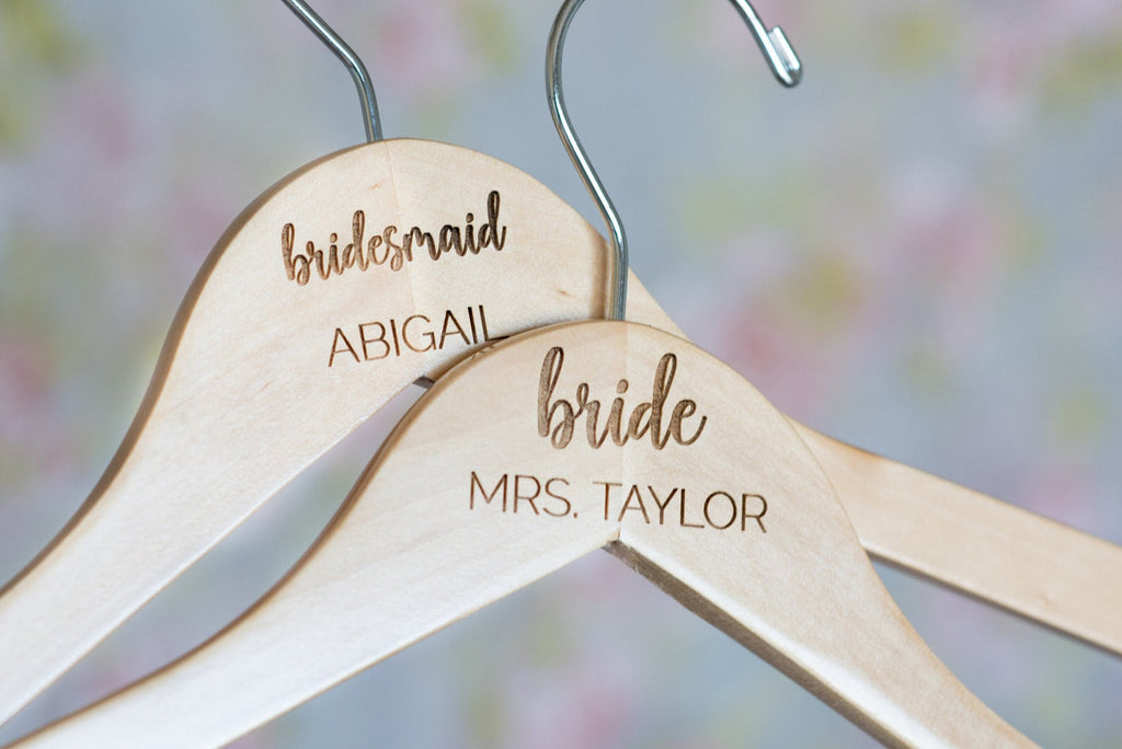 Two Personalized Engraved Bridal Party Wooden Hangers, with Bridesmaid and Bride tex