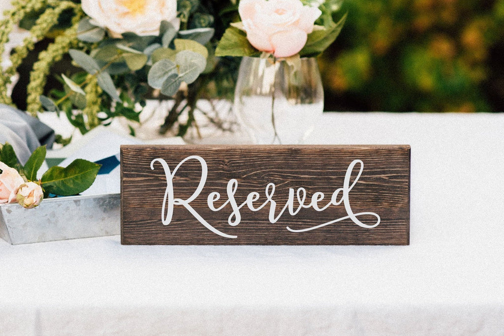 Reserved Wedding Table Sign