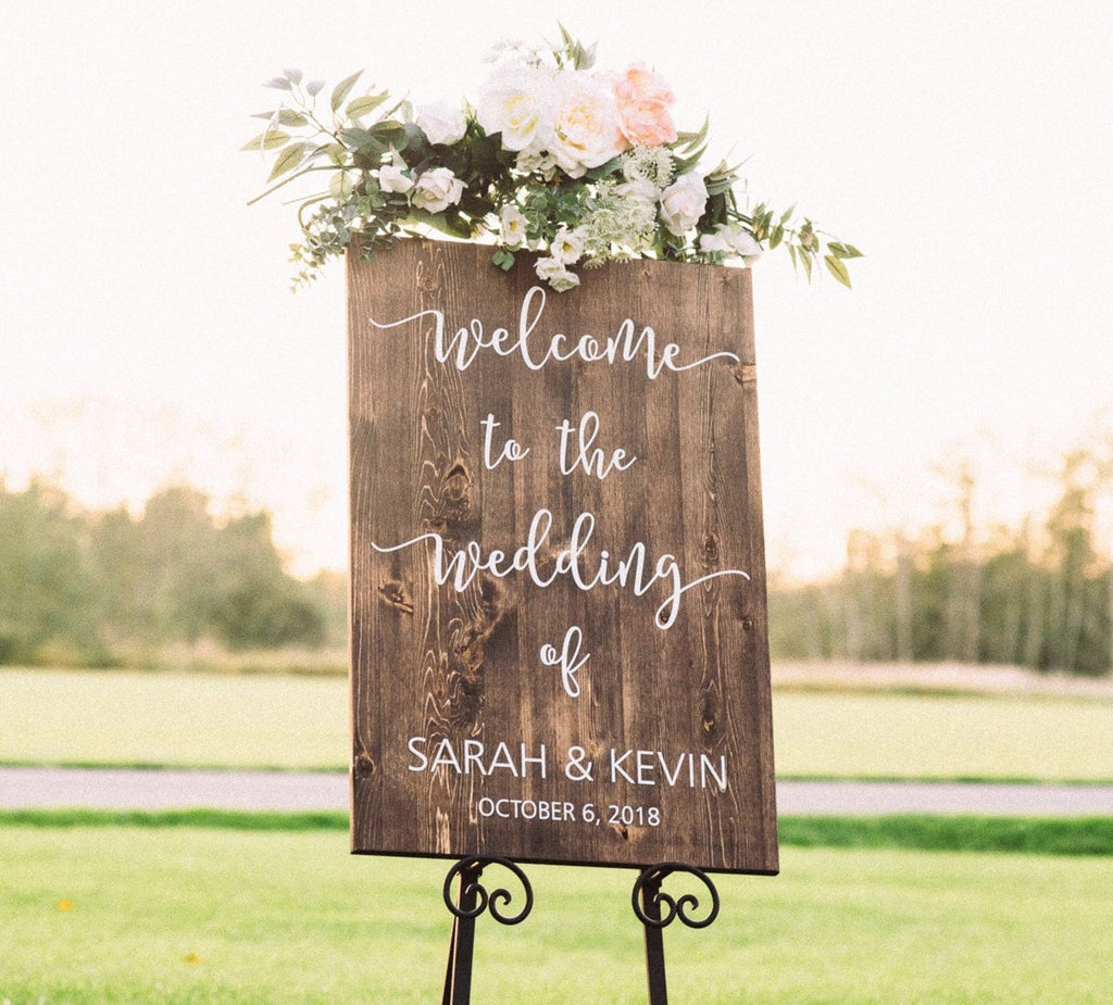 "Vertical ""Welcome To The Wedding Of.."" Wooden Sign"