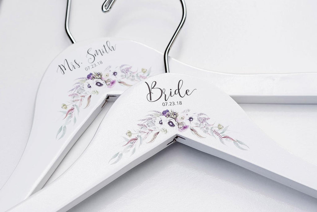 White Bridesmaid Printed Hanger with purple floral design