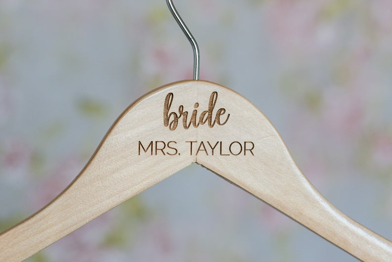 Personalized Engraved Bridal Party Wooden Hangers #HG104