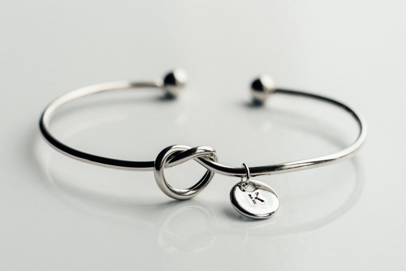 Silver personalized bridesmaid proposal bracelet with a initial charm