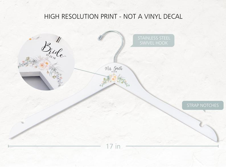Single White Bridesmaid Printed Hanger with cream floral design and hanger outline and measurements
