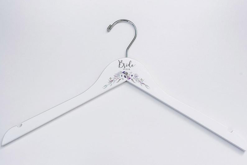 White Bridesmaid Printed Hanger with floral design