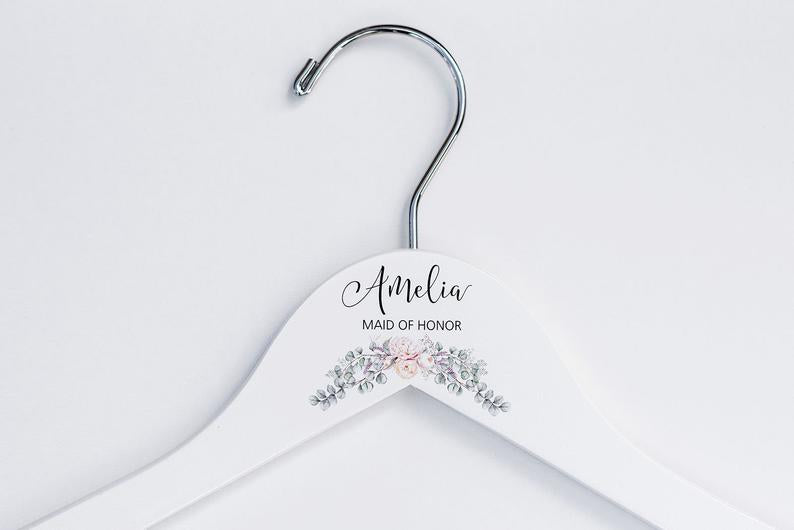 Single White Bridesmaid Printed Hanger with cream floral design