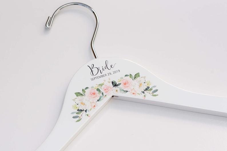 White Bridesmaid Printed Hanger