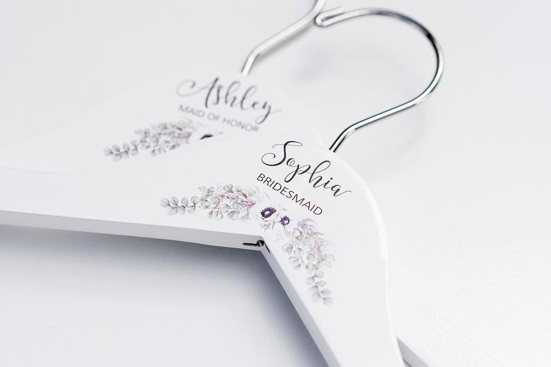 White Bridesmaid Printed Hanger with cream floral design