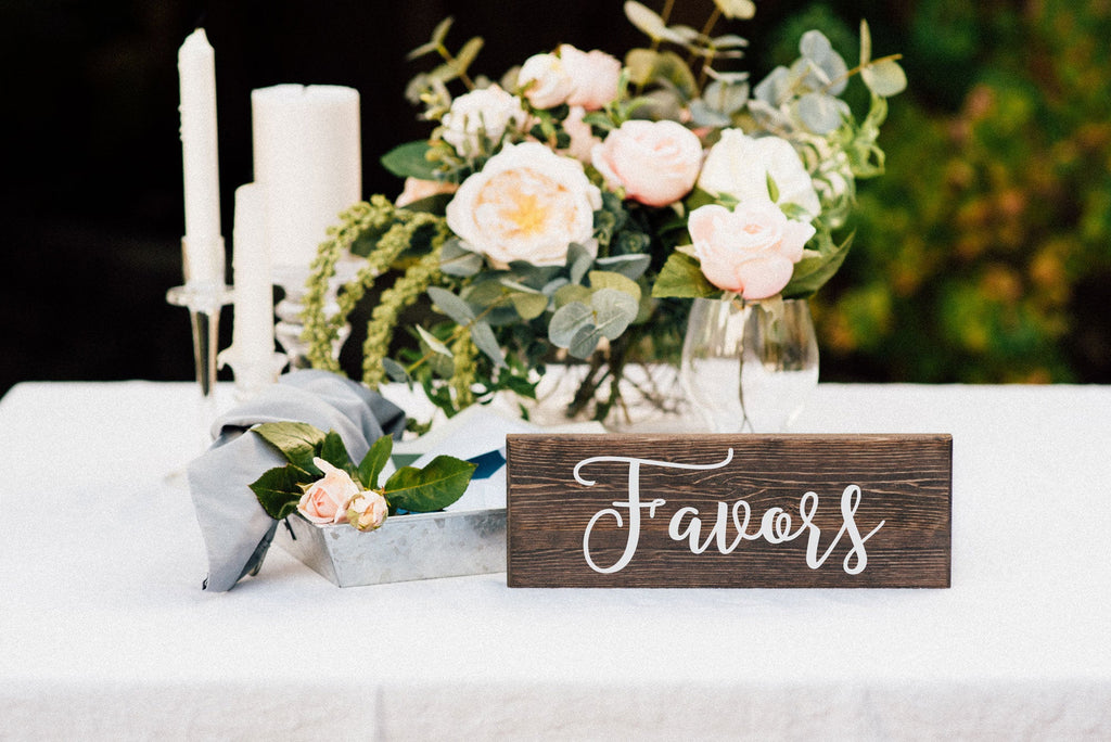 Favors Wedding Table Sign