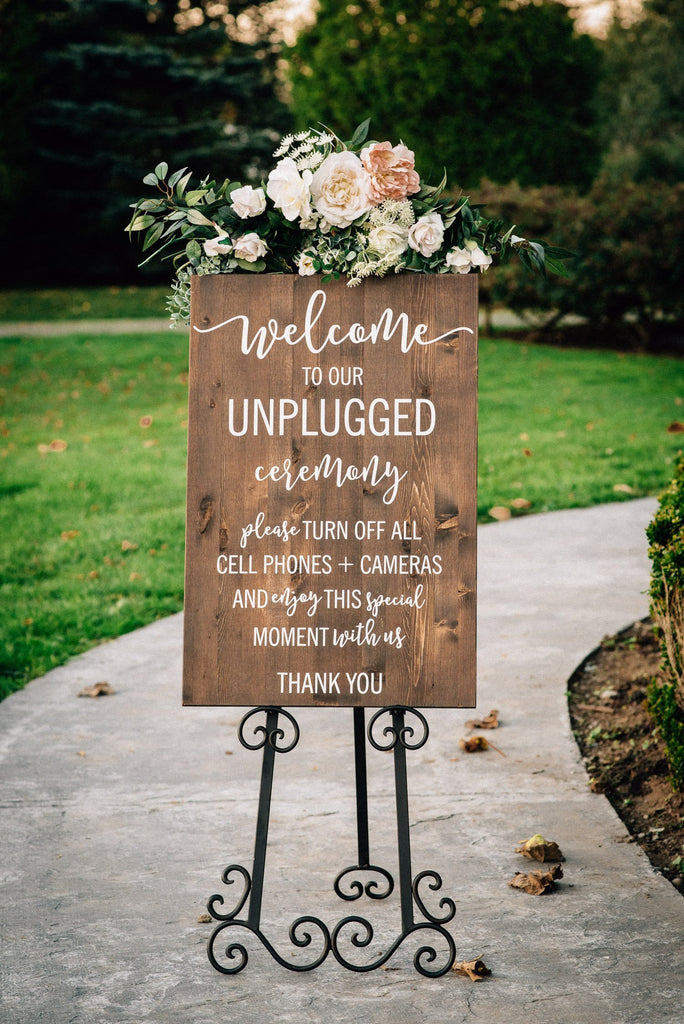 Vertical Unplugged Wedding Welcome Sign
