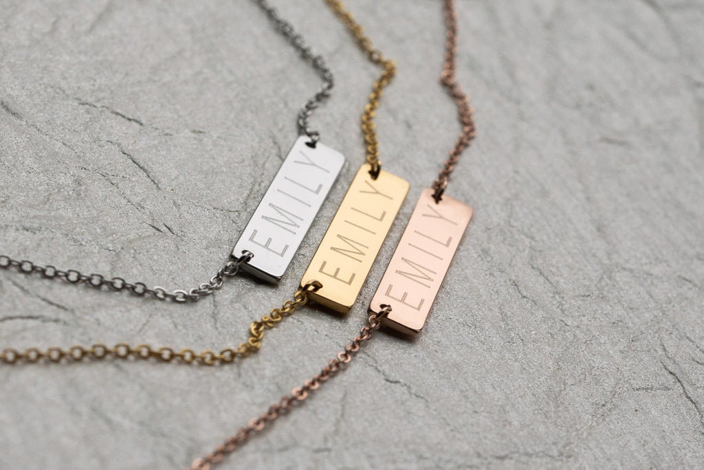 Bar Necklace - Horizontal - Gold, Rose Gold, or Silver