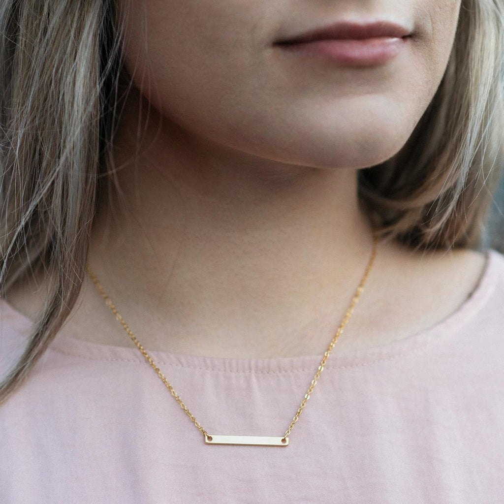 personalized bridesmaid horizontal bar neckless with name or coordinates with gold, silver and rose gold color options