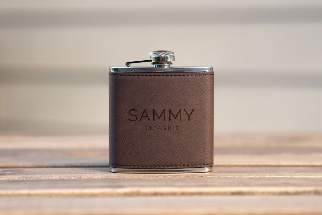 leather personalized grooms man flasks