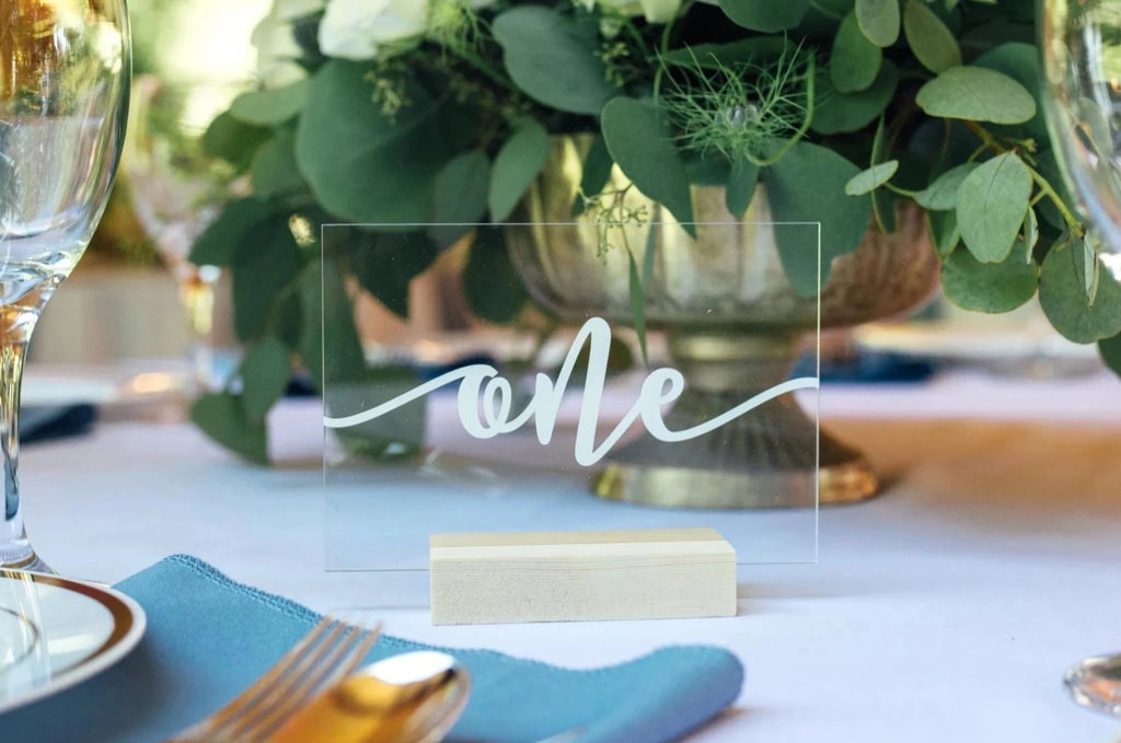 acrylic wedding table number with vinyl decal and wooden base