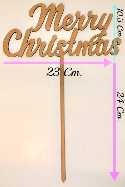 Cake Topper en Madera MDF. Merry Christmas.