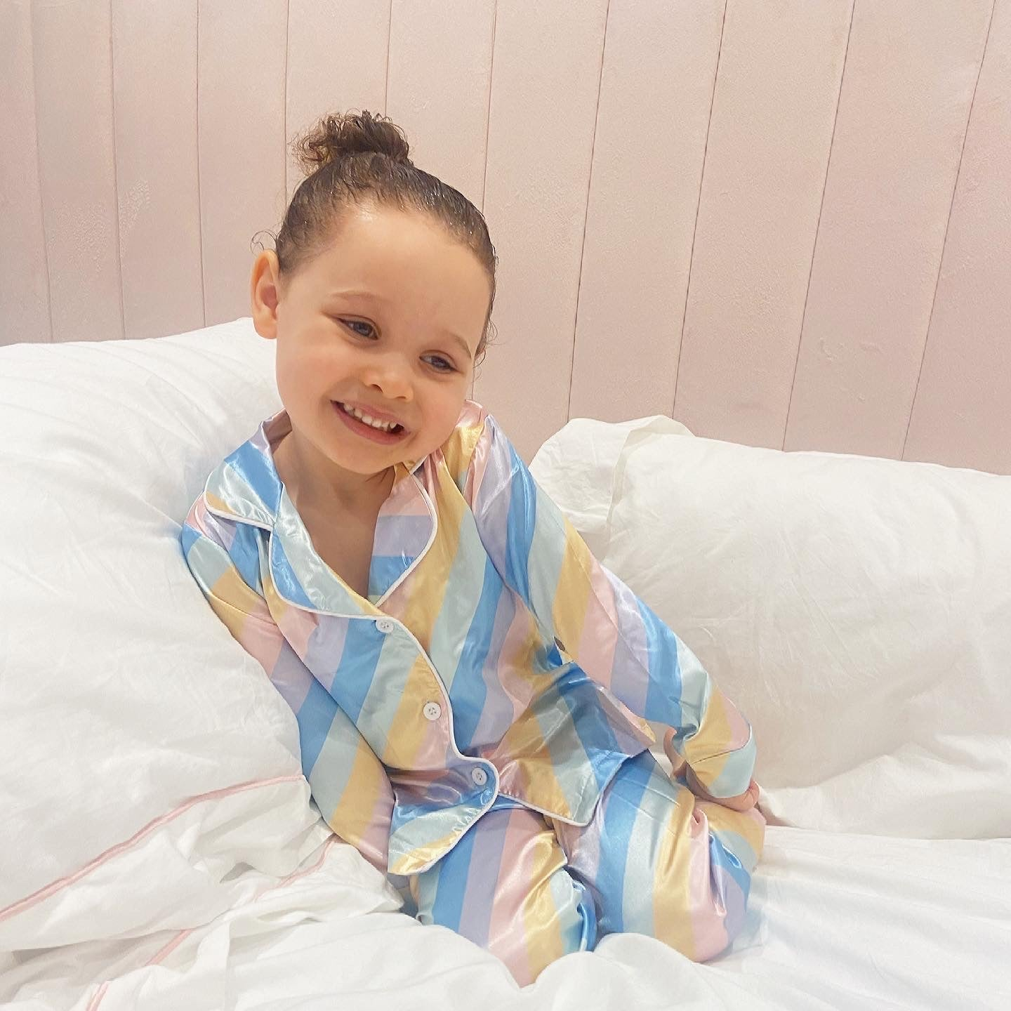 Rainbow long satin pjs
