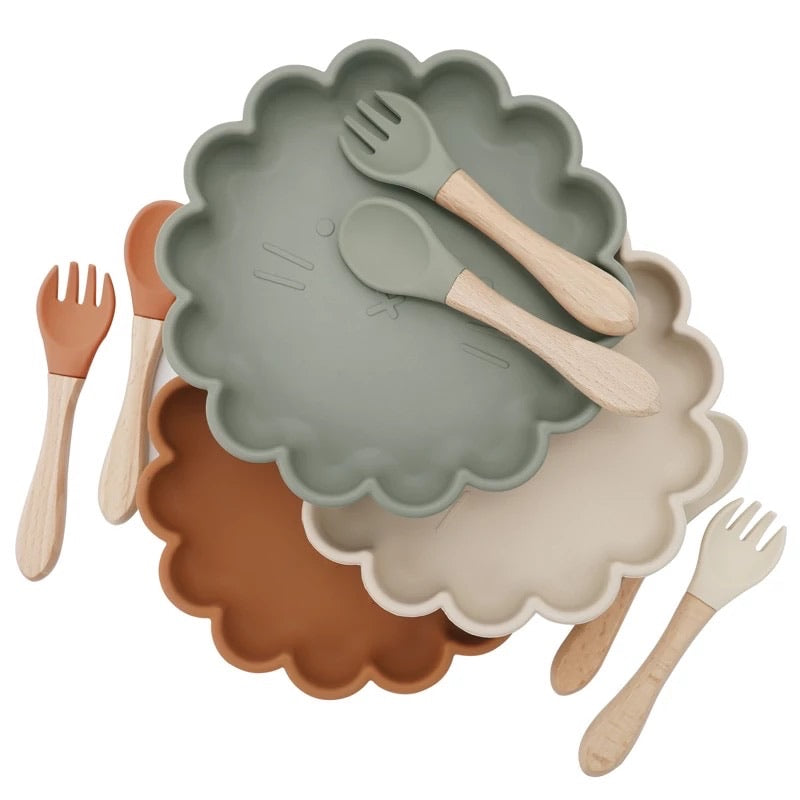 Nordic silicone plate and cutlery (multiple colours)