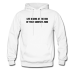 LIFE BEGINS Men's Hooded pullover - white