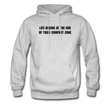 LIFE BEGINS Men's Hooded pullover - ash